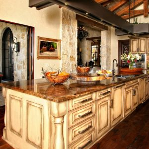 brown granite rustic kitchen optimized